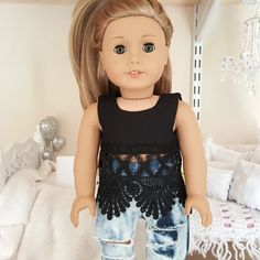 American girl doll black lace crop top by SewCuteForever on Etsy