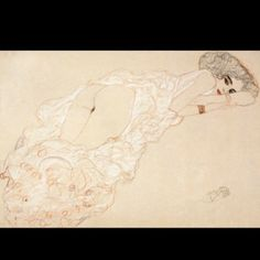 """""""Reclining nude on her stomach and facing right"""" Egon Schiele 1910"""