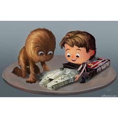 """regram @jeffvictorart """"The Magic of Star Wars Toys."""" #hansolo #chewie #chewbacca #milleniumfalcon #kenner #nostalgia What was your favorite Star Wars toy when you were a kid? Or your favorite collectible as an adult? Let me know in the comments!"""