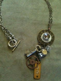 An artist in Nashville makes this incredible steam punk jewelry from found objects. Love it!