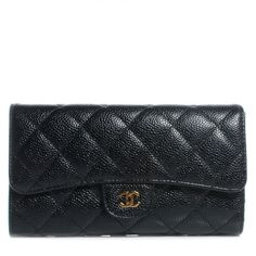 Chanel classic flap wallet in caviar