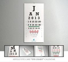 Siguiendo esta tradición de Marketing Directo, la clínica visual Apollo Eye Clinic diseñó un calendario especial basado en las plantillas utilizadas por los oftalmólogos  para realizar pruebas de la vista y determinar el grado del problema óptico que presenta el paciente.