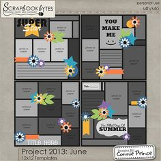 Digital Scrapbook Templates, Project 2013: June by Connie Prince