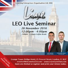 Join Atif Kamran, CMO and Co-Founder along with world-class trainer Dr. Aleksander Sinigoj for our exclusive LEO Live Seminar in London! Receive exclusive business training that will help you achieve your dreams!