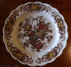 Brown Plate with Gold Red Green Polychrome Transferware Victorian Basket of Roses