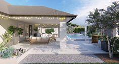 Transitional Backyard with Modern Pool Design Online Landscape Design, Texas Landscaping, Modern Pools, Traditional Landscape, Backyard Makeover, Landscape Plans, Pool Designs, Planting Flowers, Flowering Plants