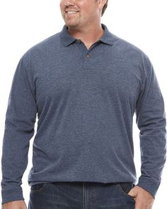 THE FOUNDRY SUPPLY CO. The Foundry Big & Tall Supply Co. Long Sleeve Solid Polo Shirt Big and Tall Mens Big And Tall, Big & Tall, Polo Shirt, Men Sweater, Long Sleeve, Sleeves, Sweaters, Shirts, Fashion