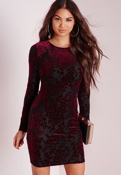 Hot Damn girl, you're going to turn some heads in this one. You will be looking smokin' in this bodycon-tagious mini dress this weekend, in a lush black fabric with floral textured burgundy velvet print this dress is killer. The long slee...