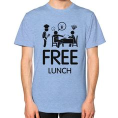 Free Lunch Men's T-shirt, American Apparel T-shirt, funny t-shirt, food tees, cook t shirt, cockroach tee (Black Icon)