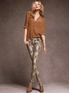 VS Siren Legging Jean in Python-print - Victoria's Secret love me some snake pants! $80