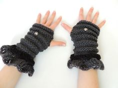 Eclectic Elegance Fingerless Gloves Grey Black by Valerie Baber Designs - IntricateKnits, $43.00