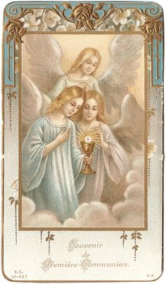 Antique Vintage French Holy Prayer Card Angels & Communion Chalice