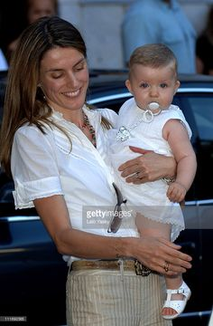 Princess Letizia of Spain with baby Leonor during their summer holiday in Palma de Mallorca on July 21, 2006