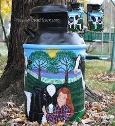 Painted Milk Cans   ... Paintings, Signs, Goats, Pets, Livestock.: MILK CANS & Cream Cans