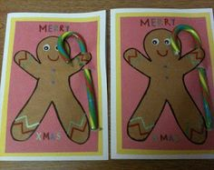 Christmas crafts: Gingerbread Men Cards with real detachable candy canes