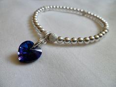 Shiny Love heart Swarovski Charm on Sterling bracelet by VinkyJewellery- perfect and elegant...