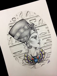 Queen Nefertiti Tattoo Design Inspiration effective something Kunst Tattoos, Body Art Tattoos, Sleeve Tattoos, Tattoo Sketches, Tattoo Drawings, Art Drawings, Tattoo Manche, Nefertiti Tattoo, Cleopatra Tattoo