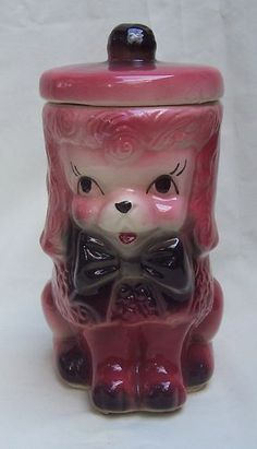 Pink Poodle Cookie Jar Made by American Bisque