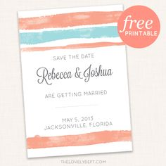 Free printable watercolor wedding save the date by The Lovely Dept.