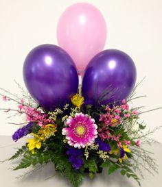 Balloons and flowers by Auburn Classic Florist, Auburn IN Balloon Arrangements, Balloon Decorations, Flower Arrangements, Spring Green, Ikebana, Home Improvement, Centerpieces, Balloons, Floral Wreath