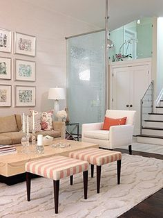Peach and pink tones are used in this transitional space