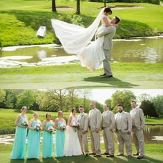 We are absolutely thrilled that we received a handful of pictures from Katie and Sean's very special day! Katie looked so beautiful in her wedding dress fromAllure Bridalsthat features a stunning illusion back and a detailed lace hemline! This fit and flare bridal gown also has fabulous cap sleeves and gorgeous button detail down the back. Her bridesmaids looked amazing in their mint dresses from theW-Too Bridesmaid Collection by Watters!