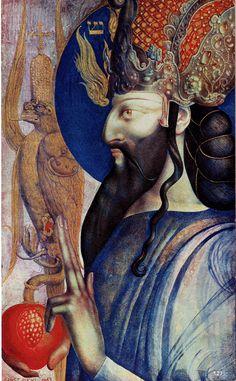 Le roi Salomon - Ernst Fuchs - Aquarelle sur parchemin - 1963