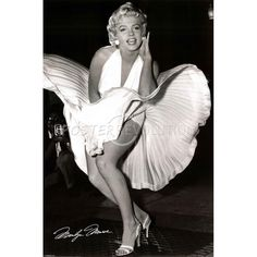 Marilyn Monroe Movie (White Dress, Seven Year Itch) Poster;  Idea to frame all old movie stars in black frames