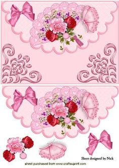 PRETTY FAN WITH ROSES AND BUTTERFLY ON SCALLOPED ENVELOPE on Craftsuprint - Add To Basket!