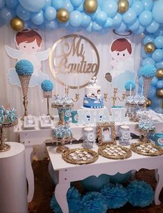 Bautizo Angel Baby Shower, Cowboy Baby Shower, Baby Shower Deco, Baby Shower Balloons, Baptism Party Decorations, Baptism Centerpieces, Baptism Favors, Aaliyah Birthday, Baby Boy Christening
