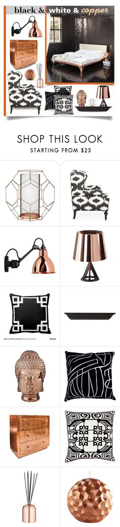 """black & white & copper bedroom"" by collagette on Polyvore featuring interior, interiors, interior design, home, home decor, interior decorating, Piet Hein, Bloomingville, Kim Salmela and Tom Dixon"