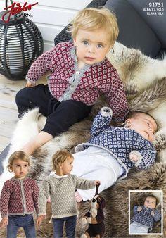 Gratis strikkeopskrifter - bluse og cardigan til baby hos Fru Hyasinth Free Baby Patterns, Baby Sweater Patterns, Knit Baby Sweaters, Baby Knitting Patterns, Knitting For Kids, Crochet For Kids, Knitting Projects, Knit Crochet, Baby Llama