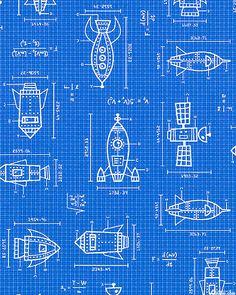 Spaced Out - Rocket Blue Prints - Royal Blue