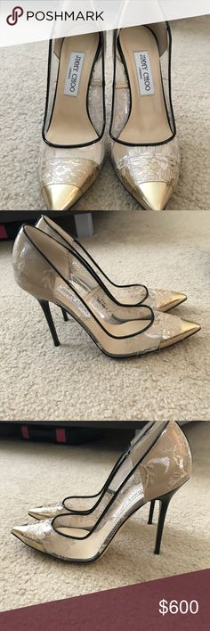 3e7b7f3ac49b Jimmy Choo clear lace gold pumps 7.5 Beautiful only worn TWICE Jimmy Choo  pumps. They
