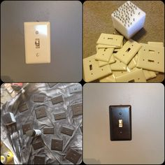 can of oil rubbed bronze Rustoleum spray paint on light switch covers