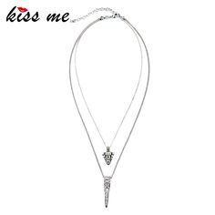 KISS ME  Modern Women Jewelry Fashion Trendy Layered Set Crystal Geometric Pendant Necklace Factory Wholesale