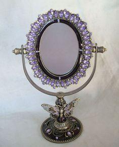 Purple Butterfly Standing Mirror