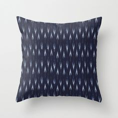 Decorative Throw Pillow  Cover in Indigo/Navy and White, Romi in Indigo from Indo Ikat Collection by Michael Miller