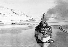 Tirpitz anchored in the Kåfjord, Norway in March 1943 German Kriegsmarine Battleship Tirpitz In Norway #Tirpitz #Battleship #Kriegsmarine #GermanBattleship