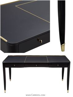 One Fifth Paris Desk by Ralph Lauren-Black Lacquered with Gold Accents
