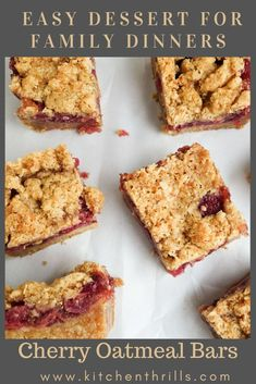 An eggless oatmeal bar recipe with cherry filling.The perfect make ahead DIY recipe for potlucks. #vegetarian #oatmealrecipe #cherryrecipe Easy Homemade Desserts, Make Ahead Desserts, Cherry Desserts, Cherry Recipes, Tea Snacks, Healthy Snacks, Homemade Oatmeal Bars, Diy Recipe, Potlucks