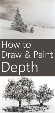 Drawing Doodle 15 techniques to add depth to a painting. How to create the illusion of depth when painting or drawing on a surface. Including tree drawing and sketching examples with pen and ink. Painting & Drawing, Painting Lessons, Painting Trees, Drawing Drawing, Painting Flowers, Painting Abstract, Drawing Sketches, Art Drawings, Pencil Drawings
