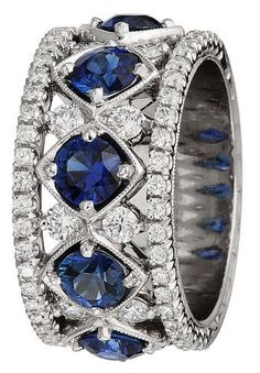 Diamond Jewelry Something Blue: Our Favorite Sapphire-and-Diamond Rings - Made in England Natural Aquamarine Sapphire And Diamond Band, Sapphire Jewelry, Diamond Bands, Diamond Jewelry, Jewelry Rings, Jewelry Accessories, Fine Jewelry, Jewelry Design, Sapphire Rings