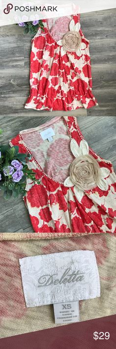 🆕Anthro Deletta Floral Peplum Top Anthro Deletta Floral Peplum Top Cute top! In perfect condition  Is a size XS Small Peplum like on the bottom Anthropologie Tops Tank Tops