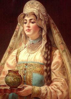 Russian lacquer miniature from the village of Fedoskino. Russian beauty in traditional attire. Russian Beauty, Russian Fashion, Russian Folk Art, Russian Culture, Russian Painting, Beautiful Paintings, Traditional Art, Female Art, Illustration