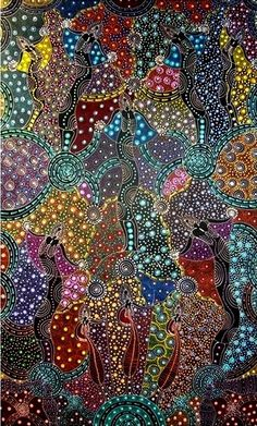 Colleen Wallace Nungari: Dreamtime Sisters Australian aboriginal art - such an amazing beautiful art work 😍 Aboriginal Dreamtime, Aboriginal Painting, Aboriginal Artists, Encaustic Painting, Aboriginal Patterns, Ink Painting, Kunst Der Aborigines, Indigenous Art, Native Art