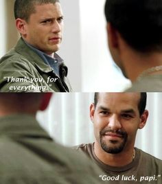 the final goodbye for michael and sucre… honesty so emotional. it& like after all scofield did, that was it. he just thanks sucre and moves on. Best Tv Shows, Best Series, Favorite Tv Shows, Movies And Tv Shows, Tv Series, Wentworth Miller Prison Break, Wentworth Prison, Charlie Chaplin, Prison Break 3