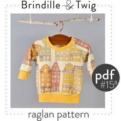 Baby pdf sewing pattern for raglan sweatshirt sizes 0-3, 3-6, 6-9, 9-12 months
