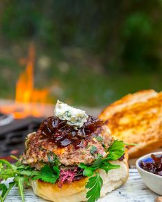Ostrich Burgers with Gorgonzola and Sticky Red Onions