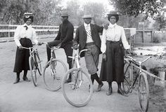 Amazing photo, amazing fashion   Four bicyclists in Denver [1900s]